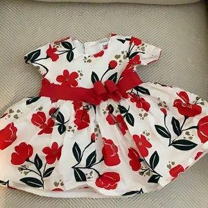 Short sleeve red flower dress